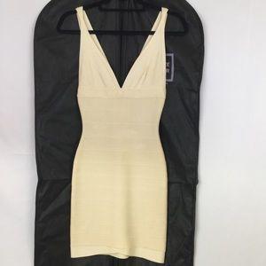 XS Cream Herve Leger Bandage Dress